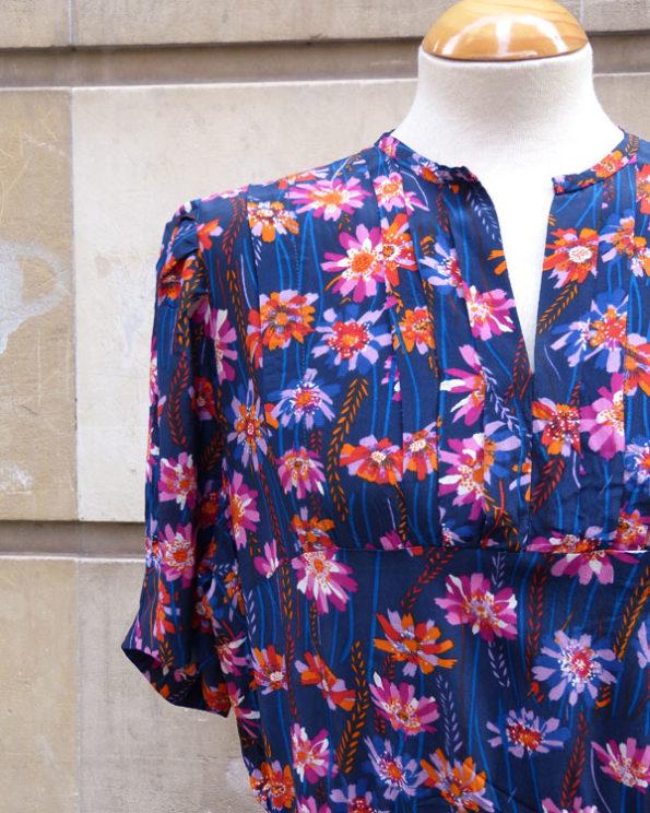 Vestido estampado con flores de finales de los 60
