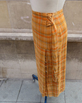Linen madras style long skirt