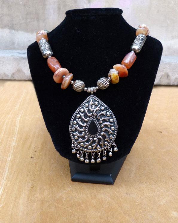 Long Indian syled necklace with natural stones