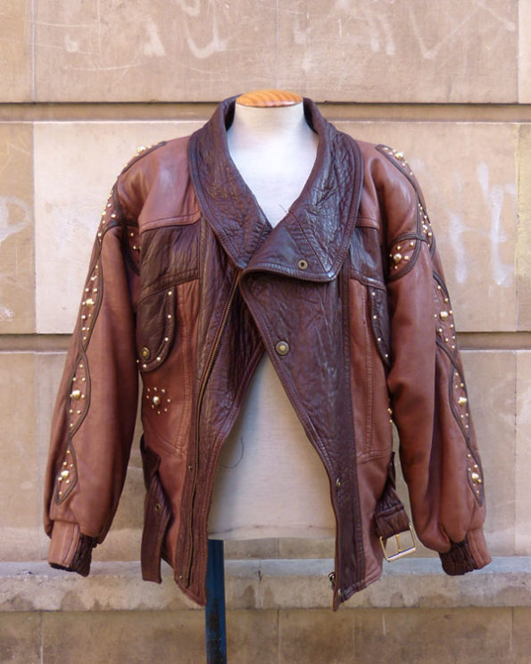 Oversized 80s Studded Leather Jacket