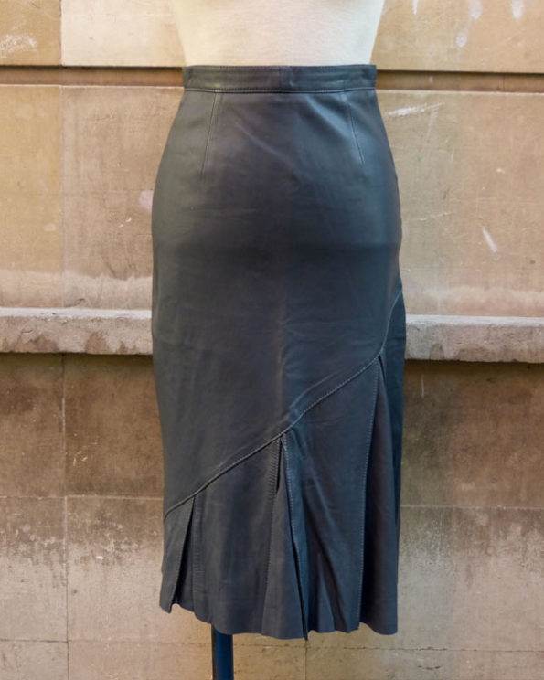 Lead Colour Flared Leather Skirt