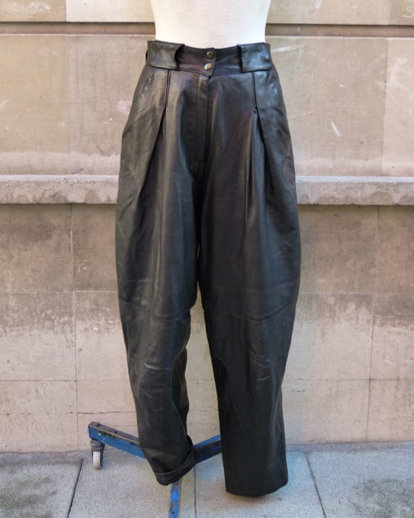 80s Black Leather Carrot Pants