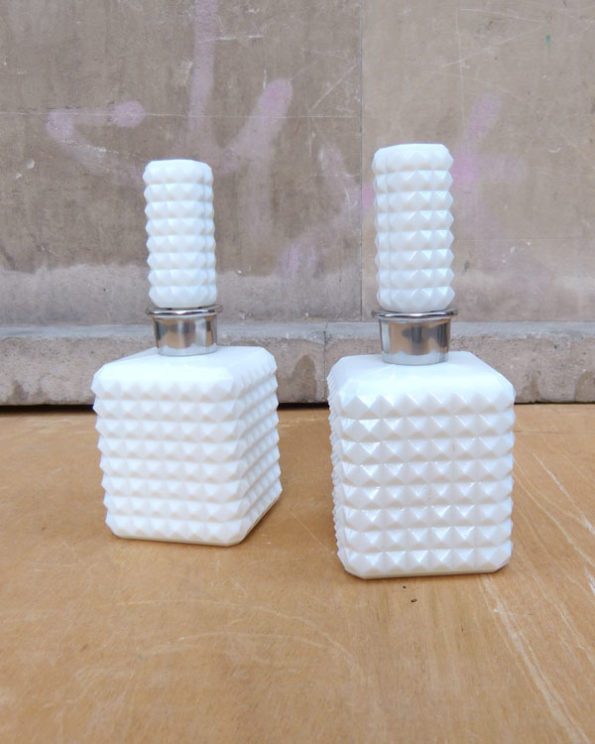 White Milk Glass Dresser Jars Set