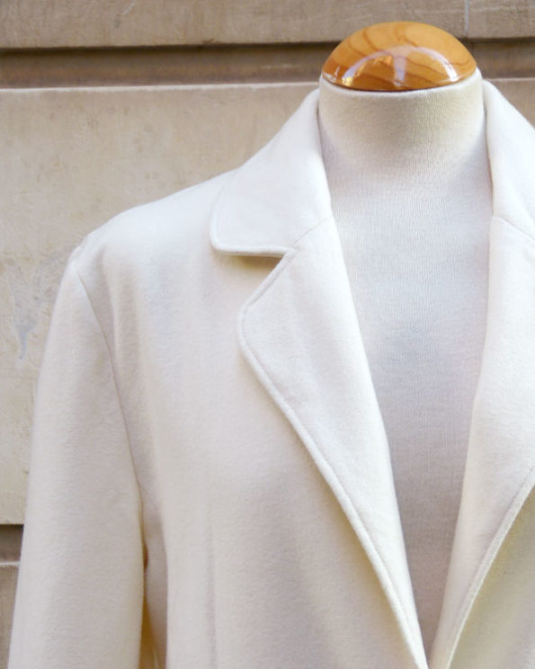 Single Button Natural White Wool Jacket