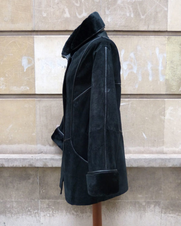 Double Breasted Black Suede Coat