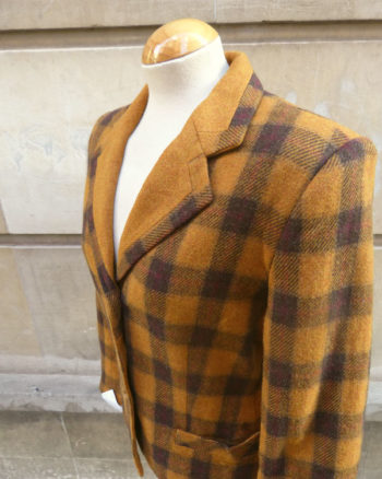 Mustard Brown Check Horse Rider Jacket
