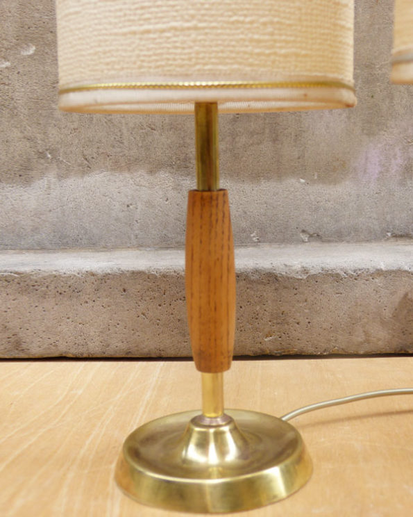 Mid Century Brass and Wood Bedside Lamps