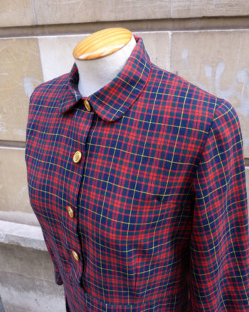 Vestido 60's de cuadros de modista 1960s Tartan Shirt Dress