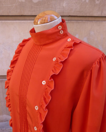 Blusa coral 80's de estilo romantico Romantic Tuxedo Orange Blouse