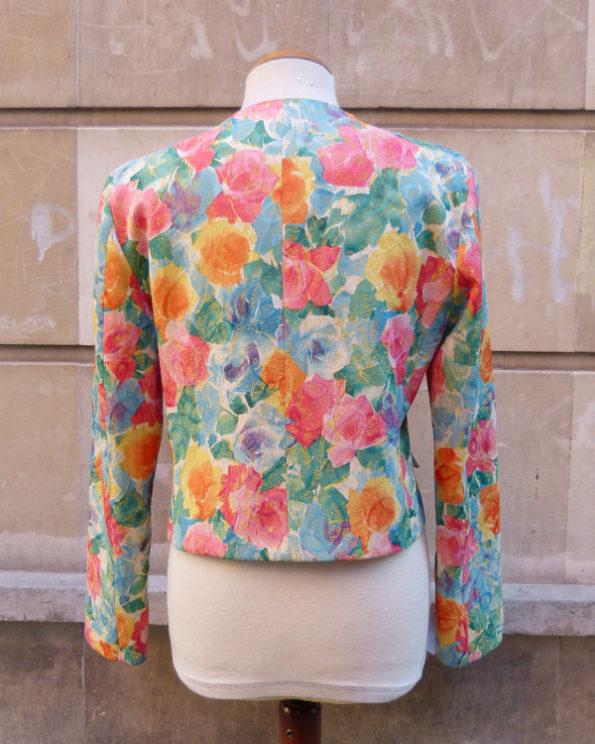 Mini blazer con estampado de flores Flowered Short Jacket by Merry Hat