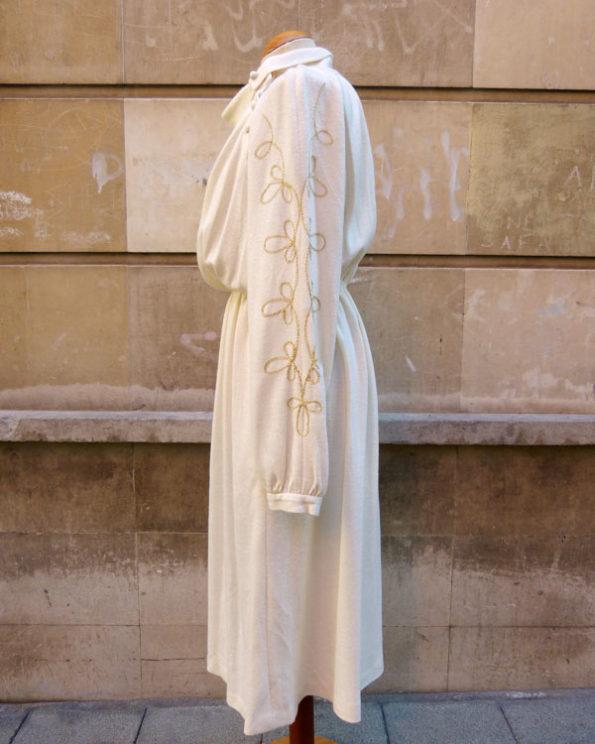 Vestido crema 80's con mangas bordadas Off White Knit and Lurex Embroidered 80s Dress