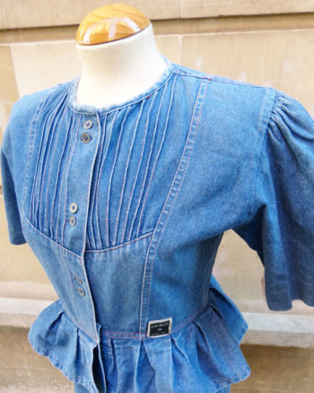 Vestido 80's entallado en tejido denim 80s Rockabilly Slim Denim Dress