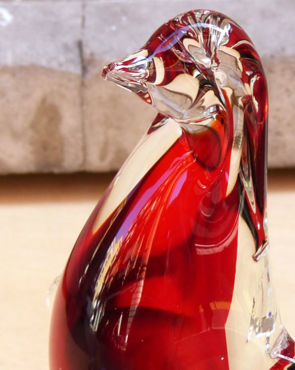 Pingüino de cristal de Murano Sommerso 1960s Murano Sommerso Glass Pinguin