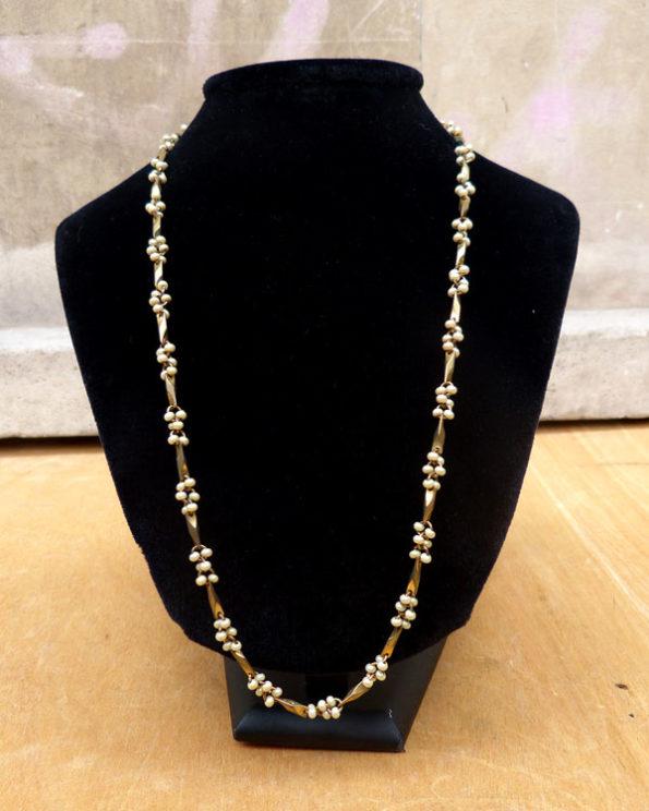 Cadena 50's adornada con perlitas Mid century Chain Necklace with Small Faux Pearls
