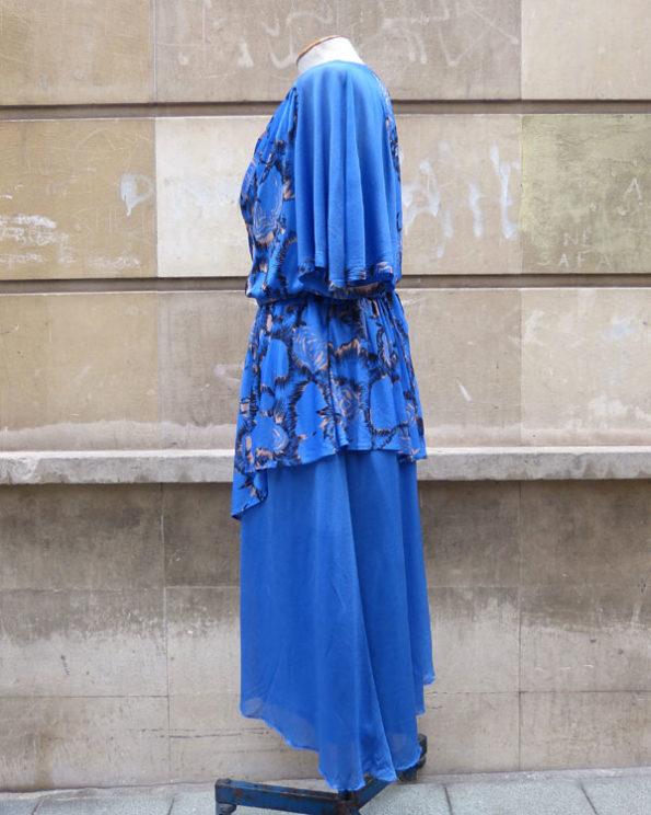 Vestido largo midi 80's 1980s Romantic Blue Midi Dress