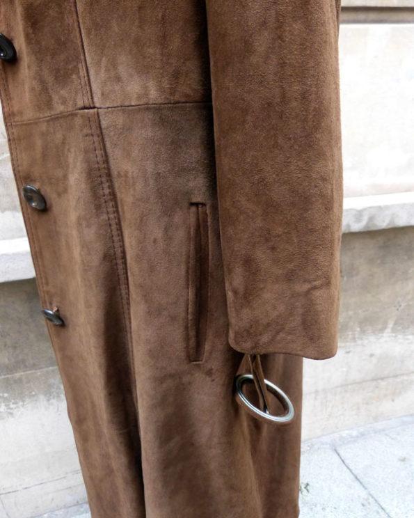 Abrigo largo de ante 70's 1970s Suede Long Mod Coat