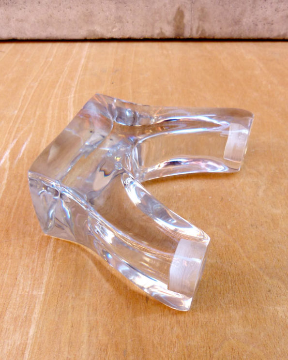 Candelabro francés de cristal macizo Art-Decó Massive Lead Glass 1930s French Art Deco Candle Holder