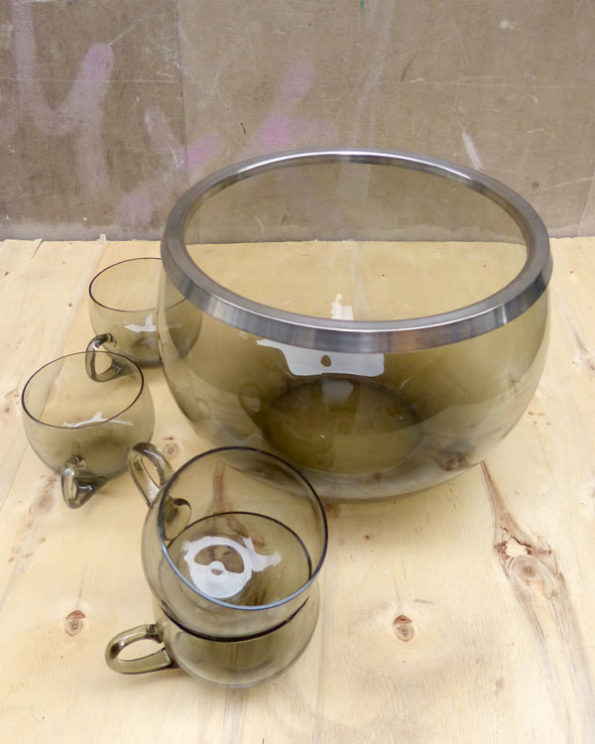1980s Punch Bowl And Cups
