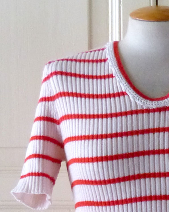 Off White and Red Sailor Top