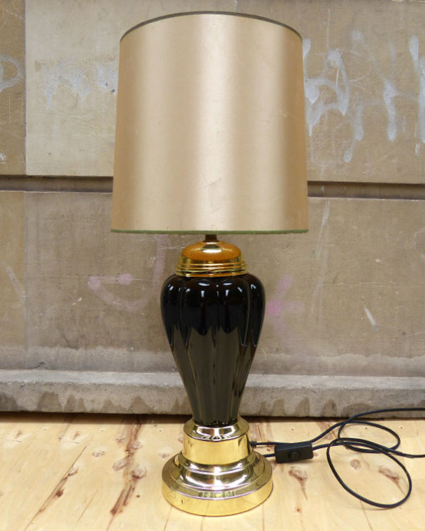 1980s Black and Gold Lamp