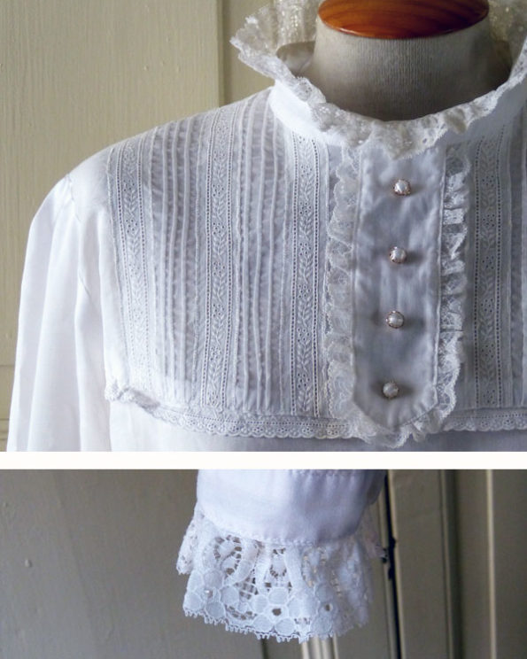 Romantic Cream Lace and Faux Pearls Blouse