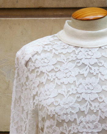 Long sleeved white lace top