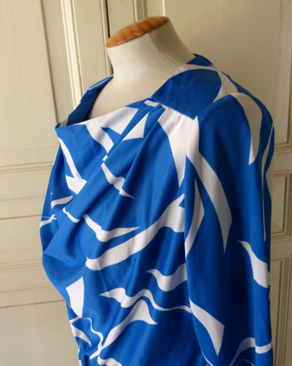 Blue and White 1980s Party dress